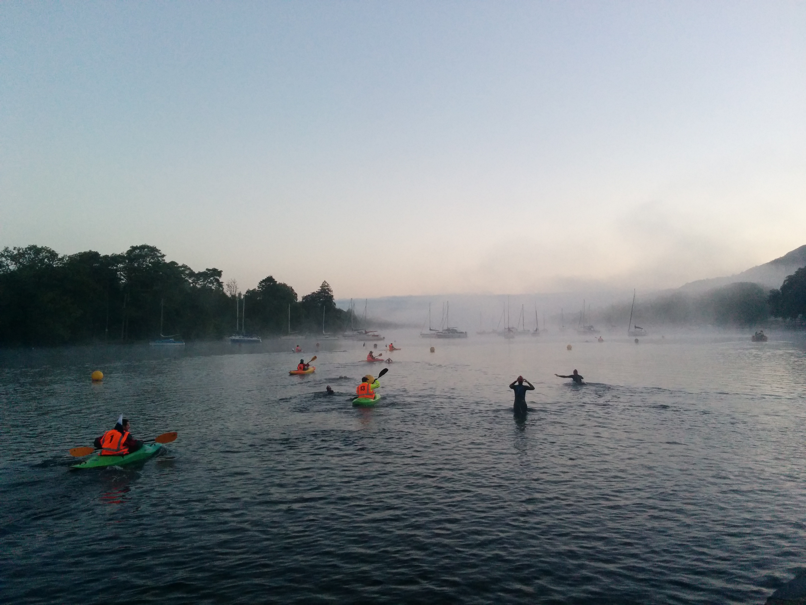 Starting the Windermere One Way swim